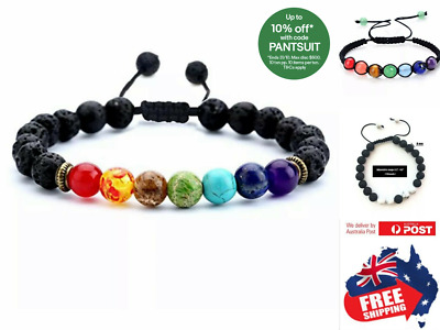 AU6.75 • Buy Adjustable Chakra Bracelet Healing Lava Stone 7 Bead Natural Oil Diffuser 1pc