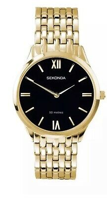 Sekonda Mens Gold Plated Bracelet & Black Dial  Watch With Gift Box New 1611 • 28.99£