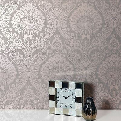 Luxe Damask Wallpaper In Dusky Rose By Arthouse 910306 - Metallic, Floral, Grey • 12.90£