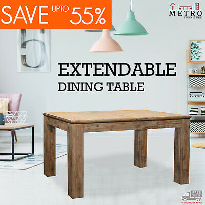 AU699 • Buy New Hardwood Extendable Adjustable Medium Large Dining Table Extension