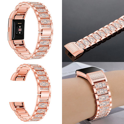 AU17.99 • Buy For Fitbit Charge 2 /HR Bands Bling Diamond Strap Stainless Watch Band Rose Gold