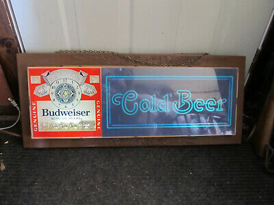$ CDN124.13 • Buy VTG Budweiser Clydesdale Light Up Bar Sign CLOCK Anheuser Busch Lucite 1979