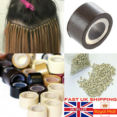 £11.28 • Buy 1000 Silicone Lined Micro Beads Rings Tube For Human Hair Extension UK Tip 5mm @