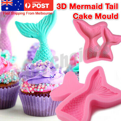 AU5.93 • Buy 3D Mermaid Tail Mold Scale Silicone Fondant Cake Mould Decor Sugar Chocolate Jel