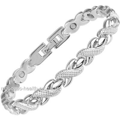 Ladies Magnetic Healing Bracelet Silver Health Bangle Arthritis Pain Relief 245 • 9.99£