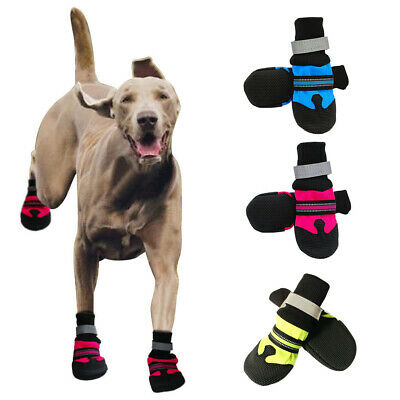 4pcs Large Dog Shoes Boots Booties For Snow Rain Waterproof Reflective Anti-slip • 10.98£