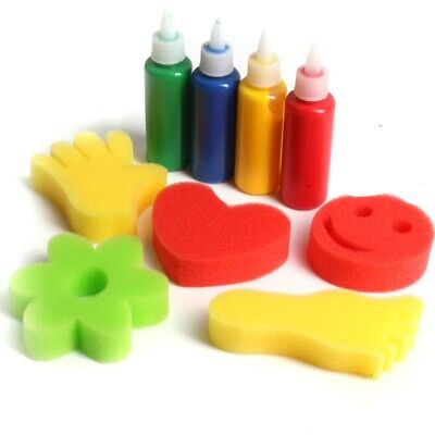 9Pc CHILDRENS SPONGE PAINT SET Kids Fun Messy Painting Play Stamp Cardmaking Kit • 4.07£