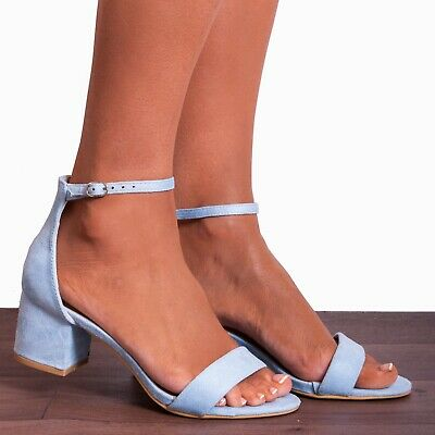 £19.95 • Buy Light Baby Blue Low Heeled Ankle Strap High Heels Strappy Sandals Peep Toes Size