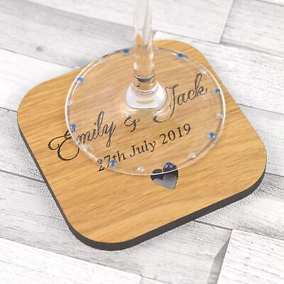 Personalised Wedding Table Coasters Rustic Wooden Favours Placecards Favors Idea • 9.99£