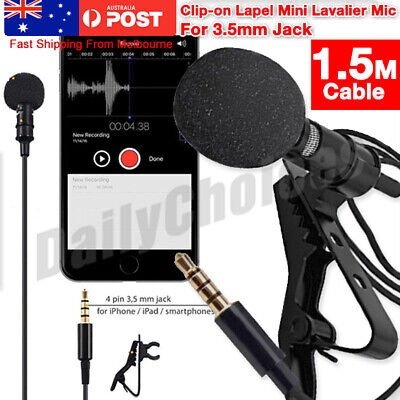 AU7.79 • Buy Lavalier Microphone 3.5mm Lapel Clip-on Mic For IPhone & Android Smartphones