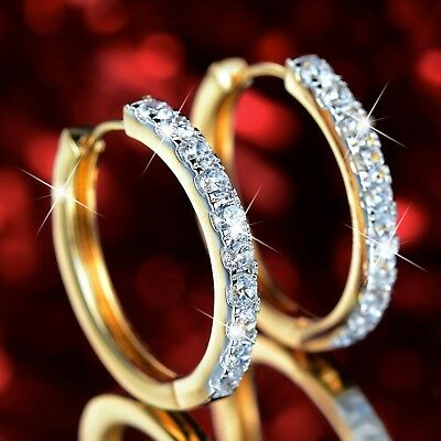 AU15.99 • Buy 18k Yellow White Gold Gf Made With SWAROVSKI Crystal Hoop Huggies Earrings 27mm