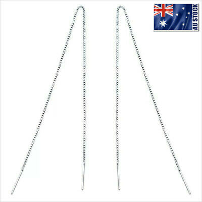 AU7.95 • Buy Genuine 925 Sterling Silver Thread Threader Earrings Bar Piercing Chain Long NEW
