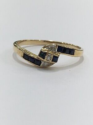 AU200 • Buy 9ct 9k Yellow Gold Natural Blue Sapphire And Diamond Ladies Ring | Brand New