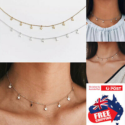 AU6.95 • Buy Women Simple Silver Gold Star Choker Necklace Chain Jewelry Gifts Choker 1pc