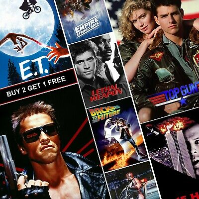 Best Classic 80's Movie Posters A4 A3 HD Prints Vintage Die Hard Terminator E.T • 1.99£