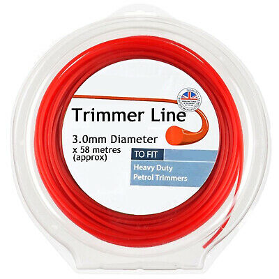 Round Strimmer Line 3mm X 60m For Heavy Duty Petrol Trimmer Brush Cutter • 10.79£