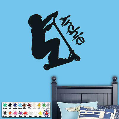 £12.98 • Buy Personalised Stunt Scooter Kids Bedroom Wall Sticker - Boy Girl Wall Art Decal