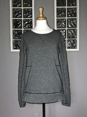 $ CDN68 • Buy Lululemon Exhalation Pullover 8 Heathered Speckled Black To And From Euc