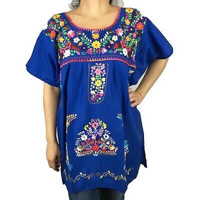e6cef61d9d1 Royal Blue Large Peasant Puebla Hand Embroidered Mexican Blouse Top • 24.99