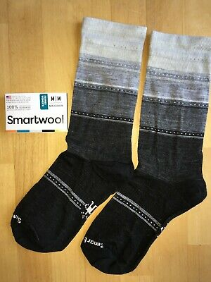 $14.95 • Buy SmartWool Sulawesi Stripe Light Crew Socks–Charcoal Black,Casual Dress–Women MED