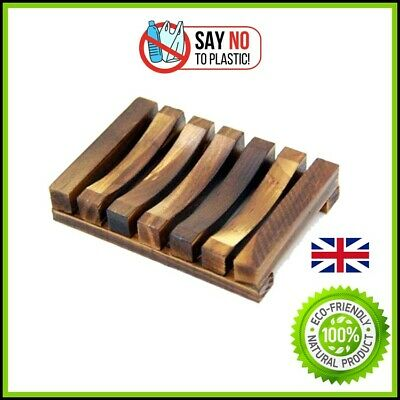 Bamboo Soap Plate Dish Wooden Rack Holder Bathroom Storage Shower Bath Eco • 5.45£