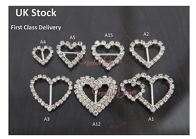Crystal Diamante Wedding Ribbon Buckle Sliders New Clearance Heart Shape • 2.99£