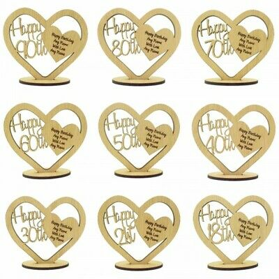 Personalised Oak Wood Heart For 16th 18th 21st 30th 40th 50th 60th Birthday Gift • 5.99£