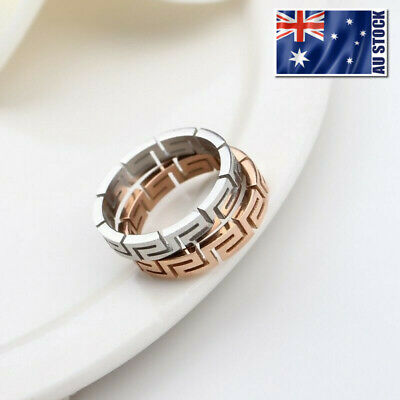 AU8.95 • Buy Women's Titanium Steel Silver Colour Greek Style Wedding Engagement Band Ring