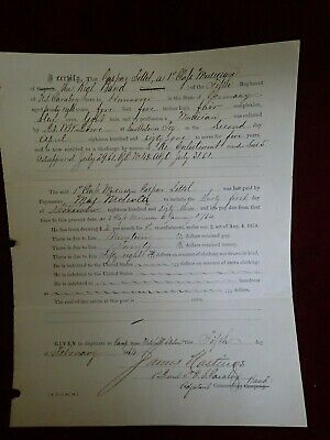 $115 • Buy 1864 Civil War Document Discharge By Reason Of RE-Enlistment 5th Regt. Cavalry-