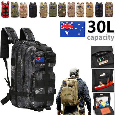 AU28.99 • Buy 30L Military Tactical Backpack Rucksack Hiking Camping Outdoor Trekking Army Bag