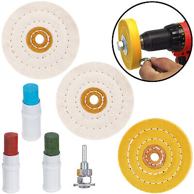 £11.49 • Buy Metal Cleaning Polishing Buffing Wheel & Compound Polish Kit For Drill 7 Pce Set
