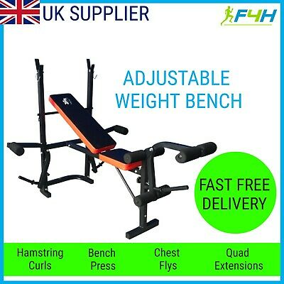 £73.99 • Buy Adjustable Folding Exercise Weight Bench Press Barbell Rack Home Gym Workout