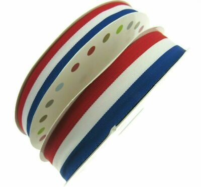 RED WHITE & BLUE FAILLE RIBBON 15mm, 25mm,  WHOLE ROLLS AVAILABLE UK/FRANCE/USA • 1.79£