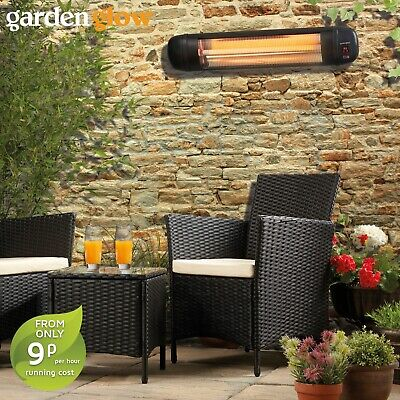 Garden Glow 2000W Wall Mounted Halogen Quartz Patio Heater Outdoor BBQ Fire NEW • 49.99£