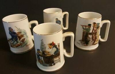 $ CDN46.35 • Buy Vtg 1985 Norman Rockwell Gold Trim Mugs Set Sea Captain Nautical Ship