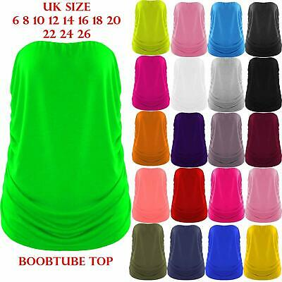 £5.99 • Buy Plus Size Ladies Strapless Sleeveless Ruched Boob Tube Womens Bandeau Top 8-26