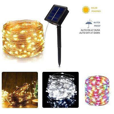LED Solar String Light Lights Waterproof Copper Wire Fairy Outdoor Garden Party • 7.99£