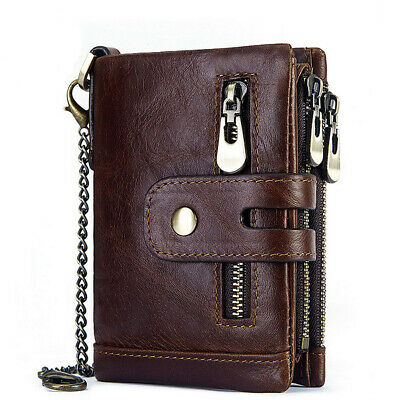 AU35.49 • Buy Men's RFID Blocking Wallet Genuine Leather Purse Card Slots Coins Holder Chain
