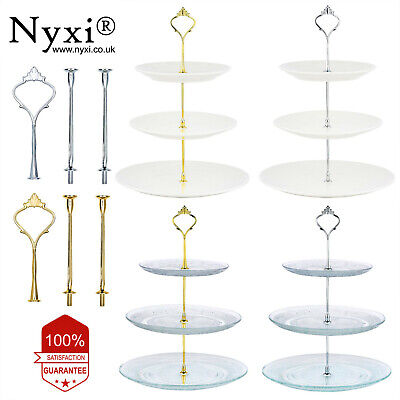 £5.99 • Buy 3 / 2 Tier Glass Ceramic Cake Stand Afternoon Tea Wedding Plates Party Tableware