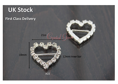 Crystal Ribbon Buckle Slider Wedding Embellishments Invites Card Heart A15 • 2.69£