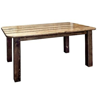 $979 • Buy Rustic Farmouse Dining Room Table Amish Made Rough Cut Wood Furniture 6 Ft Long
