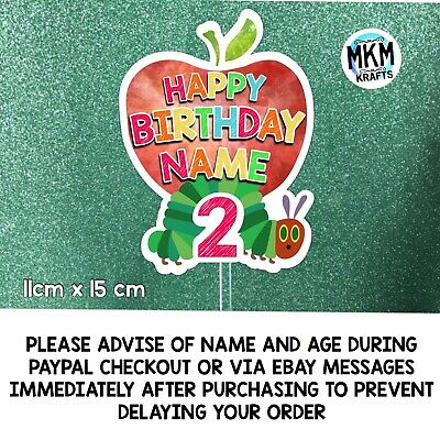 Hungry Caterpillar Apple Personalised Happy Birthday Card Cake Topper Age / NAME • 4.99£