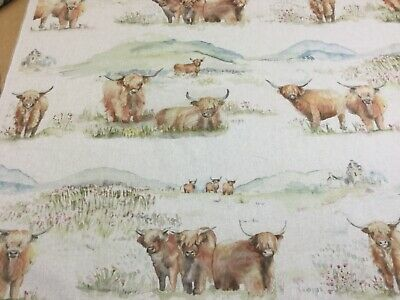 VOYAGE Maison HIGHLAND CATTLE Linen Fabric,Upholstery/Curtains/Blinds/Cushions • 16.95£