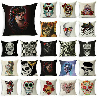 Square Skull Cotton Linen Sofa Throw Pillow Case Cushion Cover Home Decor 18  • 2.68£