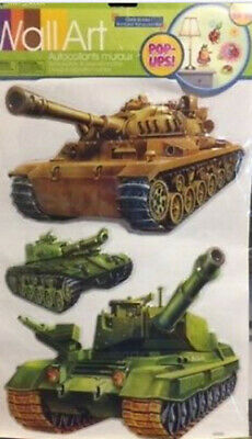 $8.99 • Buy MILITARY TANKS 3D POP-UPS Wall Stickers 3 Big Decals Army Navy Tankers Armed