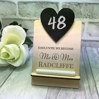 Wedding Countdown Plaque Wooden Sign Chalkboard Personalised Engagement Mr & Mrs • 7.99£