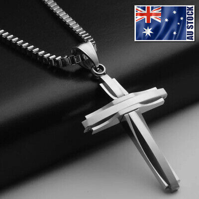 AU7.99 • Buy NEW Stainless Steel Silver Jesus Cross Crucifix Pendant Necklace Mens & Womens