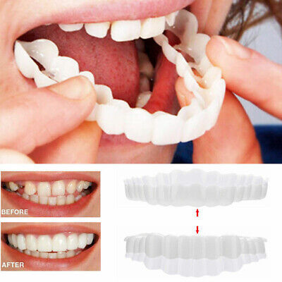 $3.13 • Buy 2Pcs/Set Upper Lower Comfort Flex White Fake Teeth Cover Veneer Denture Teeth