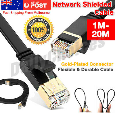 AU18.69 • Buy CAT7 RJ45 10Gbps Ethernet Network Lan Cable Flat Shielded Patch Lead