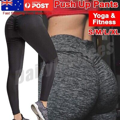 AU15.59 • Buy Womens Yoga Pants Leggings Push Up Fitness Gym Sports Scrunch Stretch Trousers